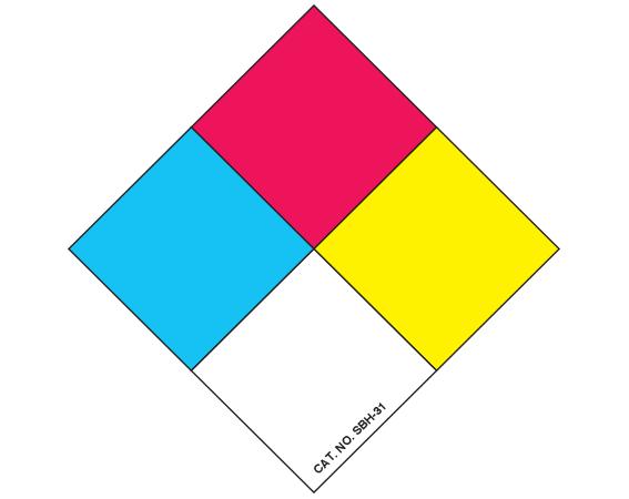 "White 2 "" x 2"" Chemical Hazard Identification Labels  - With Imprint: CHEMICAL HAZARD SYMBOL"