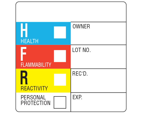 """White 2 """" x 2"""" Chemical Hazard Information Labels  - With Imprint: HEALTH OWNER / FLAMMIBILITY LOT NO. / REACTIVITY REC'D. ..."""