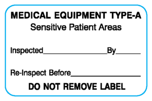 """White 1-1/8 """" x 1-3/4"""" Biomedical Engineering Equipment Labels  - With Imprint: MEDICAL EQUIPMENT TYPE-A / Sensitive Patient Areas / Inspected _____ By _____ / Re-Inspect Before _____ / DO NOT REMOVE LABEL"""