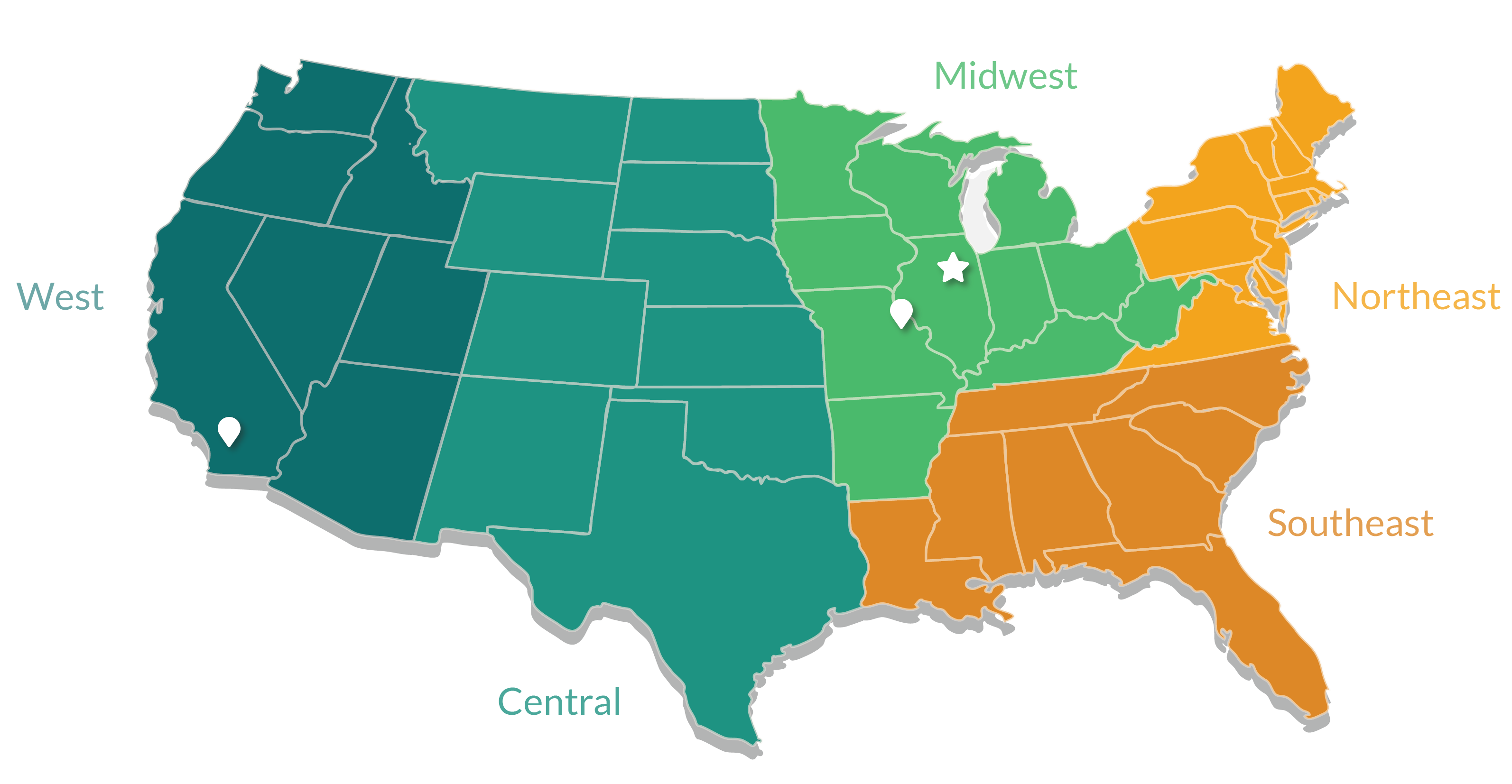 Shamrock Labels Location and Regional Sales Team Map 2